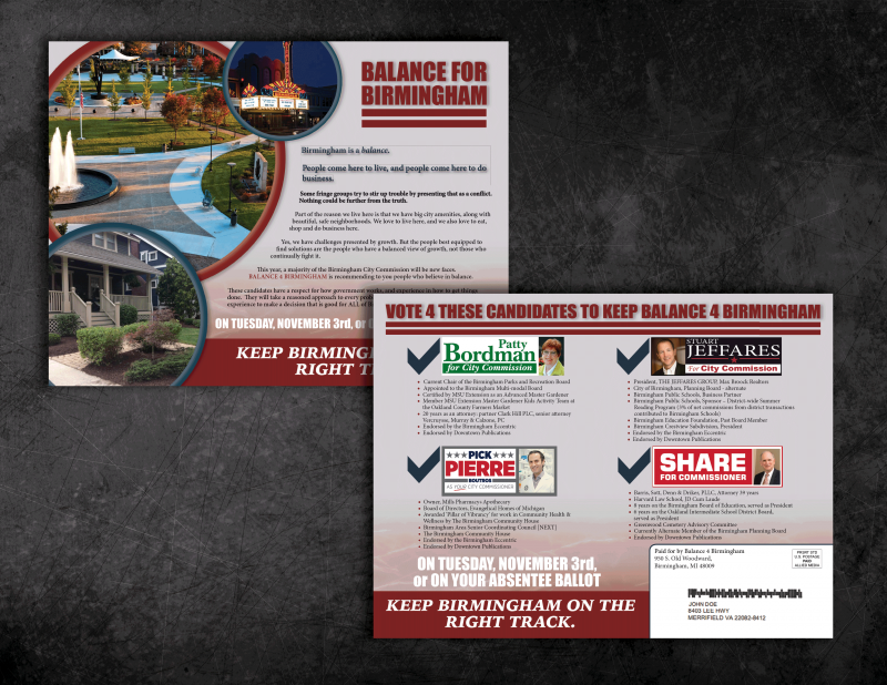 Full color Union Political Campaign Mailer