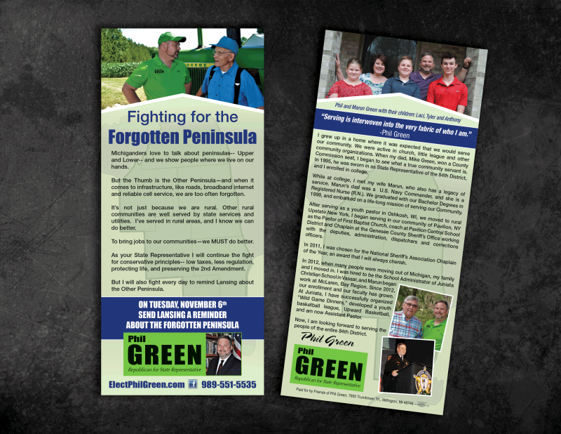 Full color Union Political Campaign Rack Card